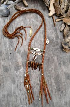 """Necklace """"NATIVE AMERICAN Breastplate Inspired"""" Leather, Cowries shells, Mother of pearl tooth, Picasso beads, Coconuts beads, Bone beads"""