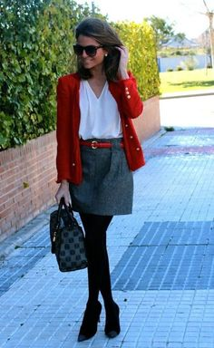 5f0551a4b9 Classic outfit tip with red cardigan