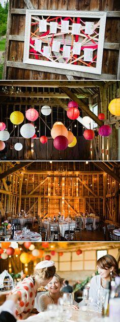 Rustic Paper Lantern Festoon Lighting Barn Wedding DIY Tableplan