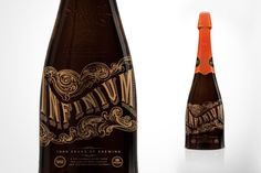 YES. IT´S A BEER - This looks like an Edgar Allan Poe story that you can drink. Absolutely incredible.    You can always count on Samuel Adams to shake things up in the beer world. Infinium is a high alcohol, champagne-like beer, resulting from a collaboration with Weihenstephan, the oldest brewery in the world. Great work from Adam to create packaging as intriguing as the brew.