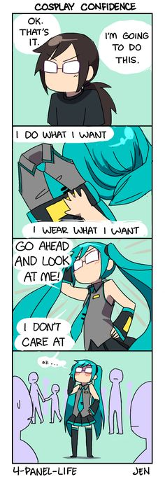 Lol, cosplaying as Hatsune Miku XD Now that I think about it, I want to cosplay as her too... *Writes down her name on cosplay list* Cosplay Fail, Miku Hatsune Cosplay, Vocaloid, Best Cosplay, Otaku Problems, Ymir, School Today, Thought Process, Funny Cute