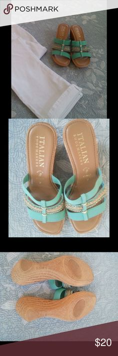 Brand new beautiful mermaid green and gold sandals Show off your pedicure in these mermaid green and gold sandals! Never worn. Italian Shoemakers Shoes Sandals