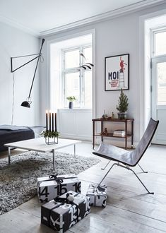 nordic living room with minimal Christmas decorations