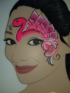 Animal Face Paintings, Animal Faces, Swans, Paint Ideas, Face And Body, Body Painting, Flamingo, Aurora Sleeping Beauty, Animals