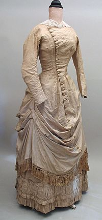Late 1870s Raw Silk Bustle Polonaise Dress with Fringe