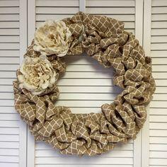 "Lattice Print Burlap Wreath, 20"" Door Wreath for All year, Neutral Burlap Wreath - pinned by pin4etsy.com"