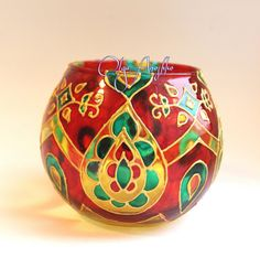 Vase candle holder Oriental tales. Stained от RomanticArtGlass