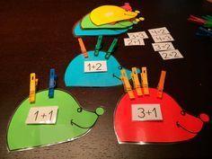Números y sumas con erizos es ingenioso material donde los niños y las niñas le ponen o le quitan las púas a un erizo y practican la suma y los números.