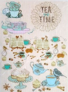 Rice Paper for Decoupage Decopatch Scrapbooking Sheet Craft Vintage Tea Time B