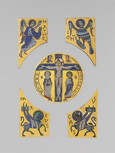 "The Crucifixion with Symbols of the Evangelists. Champlevé and cloisonné enamel on gilded copper. French ca. 1100. Metropolitan Museum of Art 17.190.426–.429. ""The monkgoldsmiths have here superimposed copper plaques, the lower one set with cloisons (wires) that define features and drapery, and the upper one cut to define the silhouettes of the figures and the cross."""