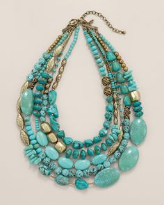 Chico's Skye Multi-Strand Necklace A statement necklace designed with turquoise-toned stones̵the accessory essential. Crafted by nature and our studio artisans, no two are quite alike. Adjusts from to Metal, stone, and synthetic materials. Beaded Jewelry, Handmade Jewelry, Jewelry Necklaces, Gold Bracelets, Gold Earrings, Chunky Bead Necklaces, Earrings Handmade, Gold Jewelry, Luxury Jewelry