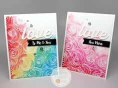Prairie Paper and Ink-Love Cards with MFT Roses All Over background stamp and distress ink watercolor