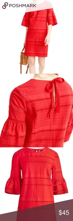 """J. Crew size 12 coral eyelet dress Brand new! Never worn! J. Crew coral size 12 flutter sleeve eyelet dress— grosgrain tie at back— perfect condition!! Website has this as """"coral"""" but it's a very coral, almost tomato red color- perfect for summer!!! Also available in white in my closet!! J. Crew Dresses"""