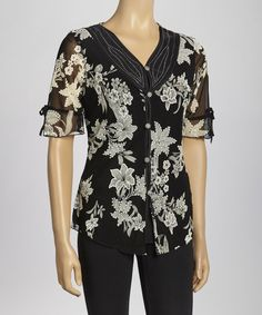 Take a look at this Black & Taupe Floral Beaded Button-Up Top by Simply Irresistible on #zulily today! $17 !!