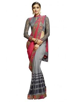 Ethnic Wear Pink & Grey Viscose Saree  - 80339