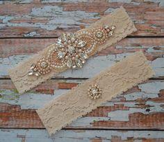 Rose Gold Wedding Garter Set, Bridal Garter Set, Blush Wedding Garter, Rose Gold Garter Belt, Crystal Garter Set, Blush Lace Garter Set, RG3 by SpecialTouchBridal on Etsy
