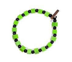 Two Tone Square Bracelet in Lime Green Black $10.00 #woodbracelet #woodenbracelet #goodwoodnyc #Woodjewelry #beadedbracelet