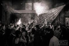 Lights, ticker tape & smoke at wedding reception