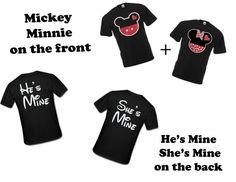 Disney Mickey & Minnie He's Mine She's Mine Matching couples T-shirts. two for 34.99. Make it a Custom Order for a perfect love gift on Etsy, $34.99