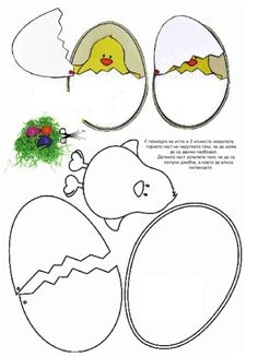 Easter - Chick in her shell - kuiken in ei: - Easter - Chick in her shell - kuiken in ei: Easter Art, Easter Crafts For Kids, Easter Eggs, Spring Crafts, Holiday Crafts, Diy And Crafts, Paper Crafts, Easter Activities, Happy Easter