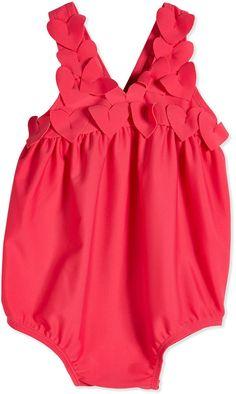 Lili Gaufrette Heart-Trim One-Piece Swimsuit, Pink, Size 3-18 Months
