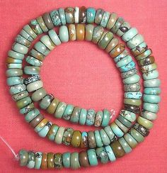 9 mm Real Turquoise Rough Cut Rondelle Beads Green 16 inch Strand #84