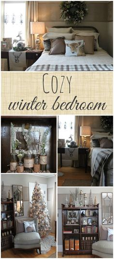 A cozy winter bedroom from the Winter Ideas House 2014 house Winter Ideas House 2014 - The Crazy Craft Lady Winter Bedroom, Christmas Bedroom, Cozy Bedroom, Christmas Home, Decoration Bedroom, Home Decor Bedroom, Bedroom Ideas, Bedroom Furniture, Winter Home Decor