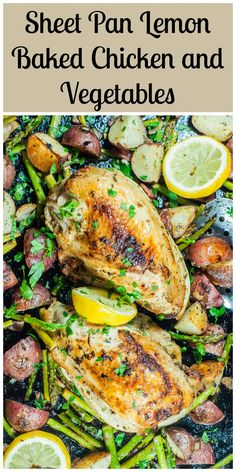 Juicy lemon baked chicken, crispy potatoes, and asparagus sprinkled with smoky bacon, all baked on a sheet sheet pan.