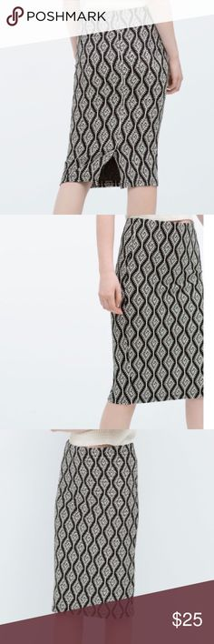 Jacquard Zara Pencil Skirt Zara - Black and White Print Pencil Skirt - Size Small - New! Zara Skirts Pencil