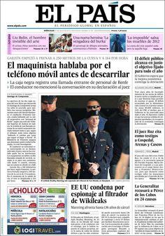 Los Titulares y Portadas de Noticias Destacadas Españolas del 31 de Julio de 2013 del Diario El País ¿Que le pareció esta Portada de este Diario Español?