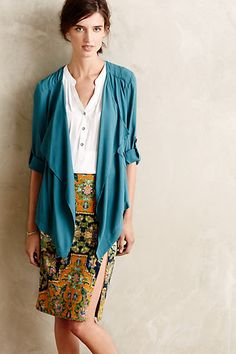 7cf5aca34c8 love how the classic pairing of button down and pencil skirt is made comfy  casual by the blue piece