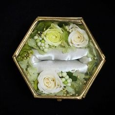 リングピロー(ジュエリーボックス)六角形グリーン Marriage, Rings, Creema, Wedding, Valentines Day Weddings, Valentines Day Weddings, Ring, Jewelry Rings, Weddings