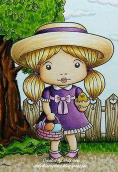 Skin and lips: E0000, 000, 00, 11, R20, 22  Hair: Y11, YR23, 24, 31  Dress: V09, 12, 15, 17, RV52, 63, W1, 3  Hat: E50, 51, 53, 55, V09, 12, 15, 17  Shoes and socks: E31, 33, 35, RV52, 63, W1, 3  Basket and eggs: B000, 00, BV01, 02, R81, 83, 85, YR00, 02  Chick: Y11, 15, 19, YR15  Sky and clouds: BG0000, BV20, C00, 0, 1  Fence: E40, 41, 43, 44, Y26  Tree: E33, 37, 47, 49, 57, G28, YG03, 13, 17, 67  Ground and grass: E40, 41, 43, G28, YG 03, 13, 17