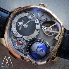 Greubel Forsey GMT has small seconds, 72 hour power reserve, tourbillon, globe, second time zone and clock face all perfectly spread out across it's stunning dial 😍 #wotd #instawatch #swisswatch #swissmade #wristshot #womw #watchesofinstagram #luxury #luxurywatch #watch #reloj #watchalert #luxe #men #menwatch #manufacture #geneva #paris #nyc #london #dubai #marcuswatches #greubel #forsey #gf #gmt #globe
