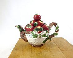 Vintage Basket of Apples Teapot / Porcelain Figural by nyssaink, $65.00