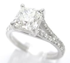165ctw CUSHION cut split shank STYLE diamond by ninaellejewels, $6,995.00