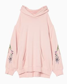 Oversized Embroidery Hoodie - pink | mame