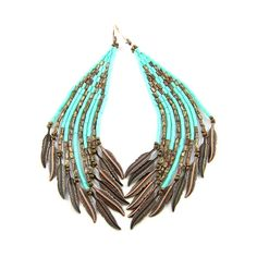 Beadwoven earrings with fringes, made of Japanese Toho bugle and seed beads in turquoise and brown colors. Copper feathers at the and of the