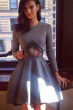Cheap Fashion O Neck Long Sleeves Waist Cut-out Grey Mini Skater Dress on Luulla