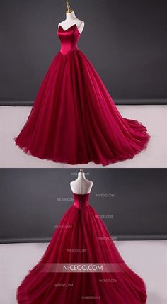Strapless Wedding Dresses Burgundy A Line Strapless Tulle Wedding Dresses Best Ball Gowns Disney Wedding Dresses, Cheap Wedding Dresses Online, Tulle Wedding, Bridal Dresses, Ball Dresses, Wedding Ring, Inexpensive Bridesmaid Dresses, Unique Prom Dresses, Affordable Wedding Dresses