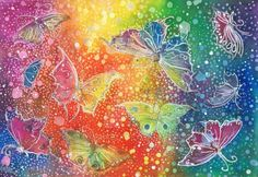 Batik Rainbow Butterflys by dawndelver on DeviantArt Butterfly Art, Butterflies, Happy Panda, Colorful Artwork, Psychedelic Art, Traditional Art, Colored Pencils, Watercolor Paintings, Wax