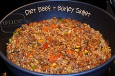 Beef and Barley Skillet | OAMC from Once A /month Mom , 9 WW Points Plus  #diet #freezercooking  #weightwatchers