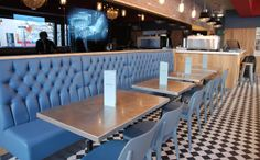 Blue Upholstered Banquettes