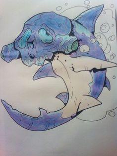 """Shark tattoo"" (2016) se me da fatal pintar, pero bueno, se intenta.   -Reference: admcde"
