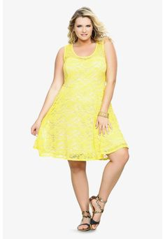 Yellow & Nude Allover Lace Dress | Plus Size Casual Dresses | OneStopPlus