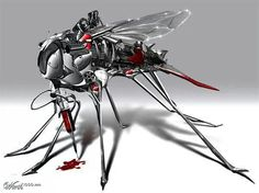 Spy mosquito take the blood sample of target