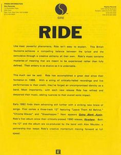 """RIDE :: Press Release For """"Going Blank Again"""""""
