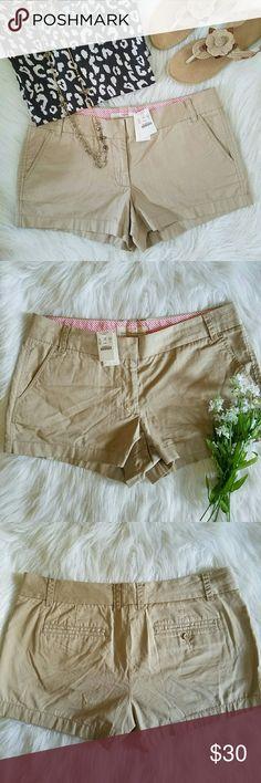 "J. Crew Khaki Chino Shorts J. Crew brand. Women's size 12. Chino khaki shorts. ""Broken in."" 3"" inseam.  Hook and bar / zipper closure.  Brand new with tags. J. Crew Shorts"