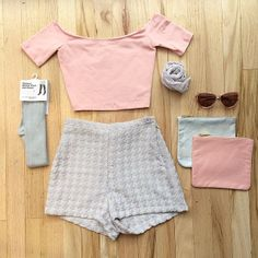 Houndstooth Tap Short and the Pretty in Pink Off the Shoulder Cotton Spandex Crop Top. #AmericanApparel