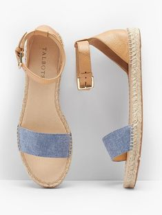 Ivy Ankle-Strap Espadrille Flats - Chambray & Pebbled Leather | Talbots